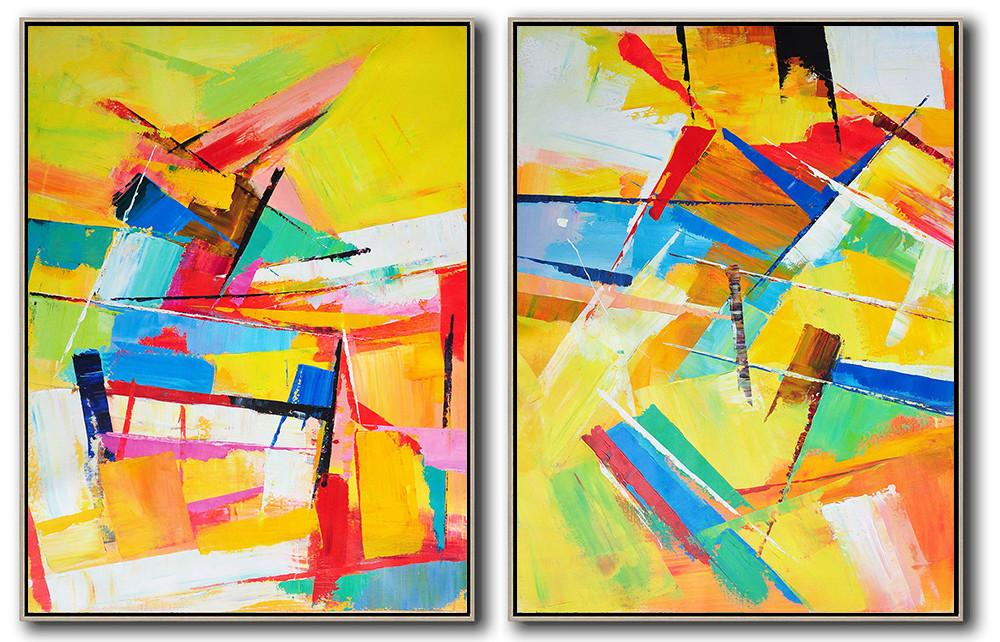 Abstract Painting Extra Large Canvas Art,Set Of 2 Contemporary Art On Canvas,Acrylic Painting On Canvas,Yellow,Orange,Red,Blue.etc